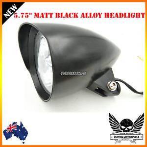 """5 3/4"""" Matt black billet alloy bullet headlight Harley Sportster Chopper Bobber"""