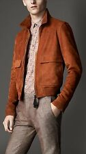 Men's Burberry London Cadmium Red Leather Rushden Jacket S New $5500