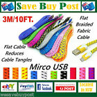 3M Micro USB Flat Braided Fabric Data Charge Cable Samsung HTC Sony LG Nokia S8
