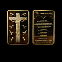 Metal Coins The Cross Desin European Gold Plated Bar Commemorative Coin for Gift