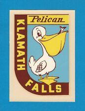 "VINTAGE ORIGINAL 1949 SOUVENIR ""PELICAN"" KLAMATH FALLS OREGON WATER DECAL ART"