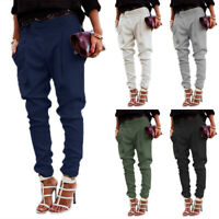 Women Casual Harem Pants Lady Skinny Solid Cargo Jogger Trousers Office Business