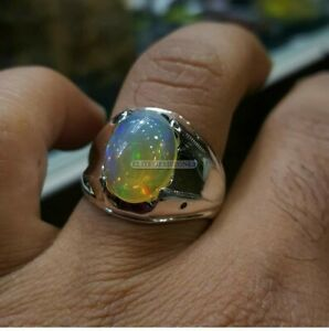 Natural Opal Gemstone with 925 Sterling Silver Ring for Men's EG1469