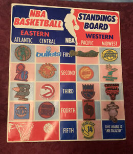 VINTAGE 1970's NBA Basketball Magnetic Standings Board with Team Magnets - RARE