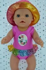 "Play n Wear Dolls Clothes For 17"" Baby Born CANDY PINK SWIMMING COSTUME~SUN HAT"