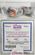 """RARE ODDITY! """"RIGHTY (UPSIDE DOWN FLAG!)"""" AUTHENTICATED Ty Beanie Babies! MWMTs!"""