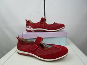 Boulevard Red leather textile summer shoes.  strap .Holiday, casual walking.Uk8
