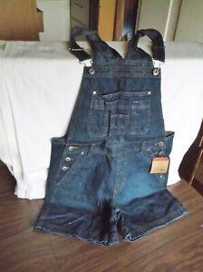 NEW Classic Blue Jean Denim Bib Overalls Shorts, Size M Medium, Indigo Blue
