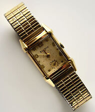Vintage BULOVA 10K GOLD FILLED FANCY CASE 21 JEWELS MENS WIND UP WATCH RUNS
