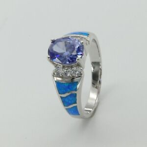 Size 9 Oval Blue  Tanzanite FIRE OPAL Ring 925 STERLING SILVER Rhodium #2351