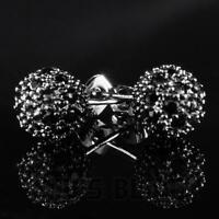 18K Black Gold ICED OUT Simulated Diamond Round Ball Stud Micropave Earrings 13M