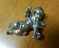 "Trumpet 2.25"" Pin Brooch Pendant 15.7g 925 Sterling Silver Angel Cherub Playing"
