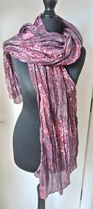 Just Cavalli Designer Large Silk Scarf Shawl Ladies Womens Purple Pink Ex. Cond