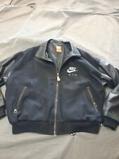 Mens Med Nike Air Leather Sleeved Bomber Jacket Cotton Used Htf