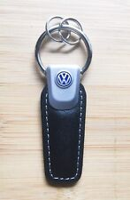 VW Volkswagen Genuine Black Leather Keychain Easy Open Golf Polo Passat GTI