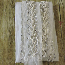 5 yard Crystal Bead Lace Mesh Fabric for Wedding Women Accessory White