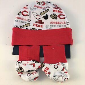 Cincinnati Reds Newborn Baby Infant Clothing Hat & Booties Set MLB Genuine