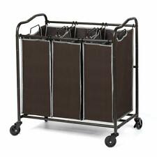 3 Section Heavy Duty Laundry Sorter Movable basket with Removable Bags