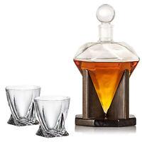 40 Oz 'Diamond' Handmade Whisky Decanter Set with wooden stand + Diamond Glasses