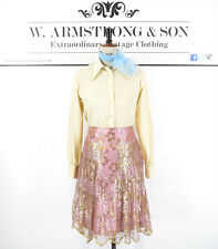 Women's MISS SIXTY METALLIC LACE Floral Disco Diva Pink & Gold Glam Skirt UK M