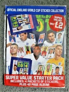 Topps England 2014 Sticker Starter Pack Unused Album & 4 Packets of Stickers NEW