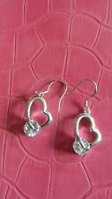 BNWOT ladies silver coloured heart shaped ear rings with clear glass stones