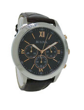 Bulova 98A142 Men's Round Analog Multi-dial Stainless Steel Brown Leather Watch