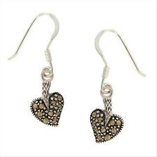 925 Silver Marcasite Heart Shaped Dangle Earrings