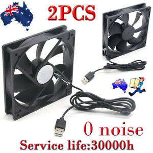 2PCS USB Cooling Fan Silent Fan Fr Computer Case PC CPU Case 5V 120x120x25mm AU