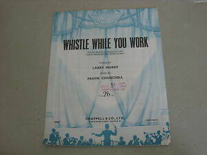 """Whistle While You Work from """"Snow White And The Seven Dwarves""""    Sheet Music"""
