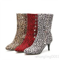 women leopard print slim mid heel mid calf boots pointed toe plus size shoes Top