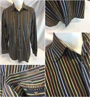 Robert Talbott Carmel Oxford Shirt M Black Color Stripe Made Turkey YGI H8-180