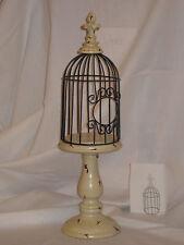 Metal Birdcage/Birdhouse on a Metal Pedestal & LaFlour Design on Top 16 1/2 Tall