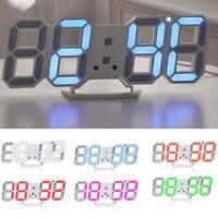 HOT Digital 3D LED Wall Clock Alarm Snooze Watch 12/24 Hour Display USB  Modern