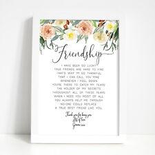 FRIEND GIFT PRINT - Personalised Birthday Gifts Best Friends. Keepsake Poem
