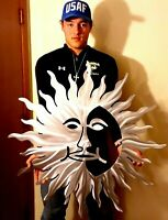 New Tribal Sun Star Over-sized 40 INCH Polished Metal  Hot Flames 2020 Wall Art