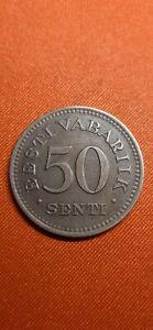 Estonia 50 Senti 1936 1st Republic Excellent Condition