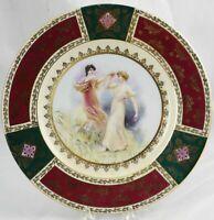 "Antique Josef Kuba Fine Porcelain Cabinet Plate JKW Decor Carlsbad 11"" Excellent"