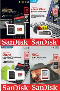 Sandisck 128GB Memory Card Extreme Ultra Micro USB 3.0 Flash Drive - Choose