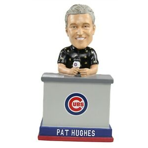 Pat Hughes Chicago Cubs Radio Announcer Black Shirt Talking Bobblehead MLB