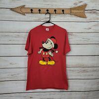 Delta Pro Weight | Vintage Disney Mickey Mouse Santa XMas Short Sleeve Shirt Men