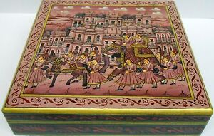 Box Wooden elephant Procession Hand Painted Christmas jewelry decorative gift