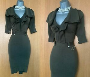 KAREN MILLEN Khaki Wool Blend Knitted Warm Stylish Jumper Dress KM 2  UK10 / 12