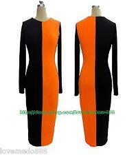 WOMENS casual ol Round Neck Colour block wiggle pencil bodycon dress ORANGE XL