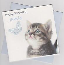 Personalised Handmade Kitten with Butterfly Birthday Card