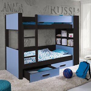 Modern Bunk Bed GASPAR Mattresses Drawers Shelves Solid Wood Custom colours