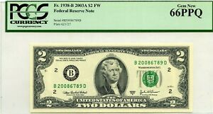 $2 DOLLARS 2003 A FEDERAL RESERVE NOTE NEW YORK F 1938 B LUCKY MONEY $300