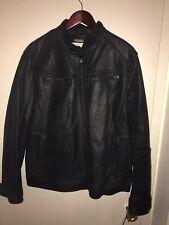 Michael Kors Mens Black genuine Leather Motorcycle Bomber jacket size XXL