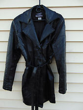LeWorld Fine Leather Womens Black Leather Jacket Patchwork Leather Trench Coat L