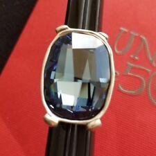 Uno De 50 Silver Ring with Blue Swarovski Stone (size 7)